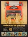 Magazine Ad For Underwood '58 Portable Typewriter, Bright Red Color, Variety of Colors, 1957