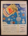 Magazine Ad For Mobiloil Special Motor Oil, Can With Top Punched, Lots of Coins, 1957