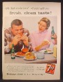 Magazine Ad For 7UP Seven-Up, Couple at Lunch Counter, He is Eating a Giant Meal, 1957