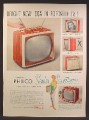 Magazine Ad For Philco Slender Seventeen Portable Television, TV, Table Sets, 1957