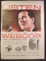 Magazine Ad For Webcor Hi Fi Fonografs & Tape Recorders, Pat Boone, Celebrity 1957