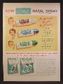 Magazine Ad For Bayer Nasal Spray, Relief From Stopped Up Noses, 1957