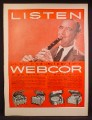 Magazine Ad For Webcor Hi Fi Fonograf, Record Player, Benny Goodman, Celebrity  1957