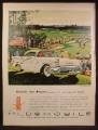 Magazine Ad For Oldsmobile Super 88 Holiday Sedan Car, White, Front & Side Views, 1957