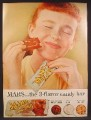 Magazine Ad For Mars Toasted Almond Chocolate Bar, Very Satisfied Red Haired Girl, 1957