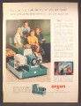 Magazine Ad For Argus Remote Control Slide Projector, Teal Blue, 1957