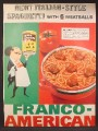 Magazine Ad For Franco American Spaghetti & Meatballs, Waiter with Can, 1957