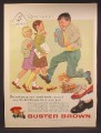 Magazine Ad For Buster Brown Kids Shoes, Boy Jumping Over Stump To Impress 2 Girls, 1958