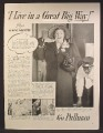 Magazine Ad For Pullman Railroad Train Car, Kate Smith, I Live In A Great Big Way, Celebrity 1940