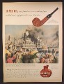 Magazine Ad For Kaywoodie Pipes, Colorized Picture of Steamships on the Mississippi River 1945