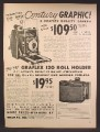 Magazine Ad For Graflex Century Graphic Graflex Quality Camera, 120 Roll Holder, 1949