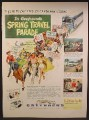 Magazine Ad For Greyhound Bus Lines Spring Travel Parade, People Leading a Bus Parade, 1951