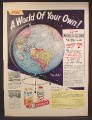 Magazine Ad For Colgate, Contest to Win A World Globe, 1958