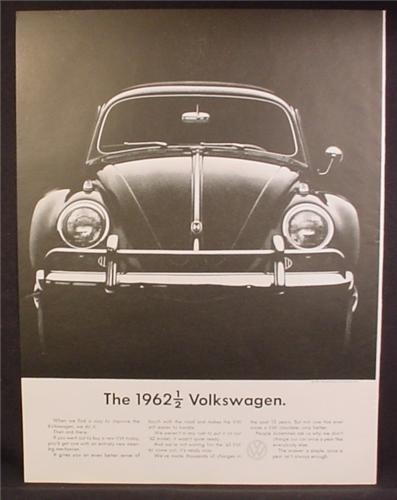 Magazine Ad For 1962 1/2 Volkswagen Beetle Car, Front View, 1962