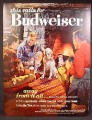 Magazine Ad For Budweiser Beer, Away From It All, 3 Guys in Cabin, Setter Dog, 1962