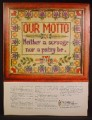 Magazine Ad For Continental Insurance Co, Cross Stitch Sampler, Our Motto, 1964