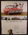 Magazine Ad For 1965 Plymouth Fury Car, Big Game Hunter, 1964
