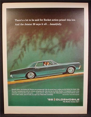 Magazine Ad For 1965 Oldsmobile Jetstar 88 Car, Green, Side View, 1964