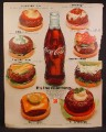 Magazine Ad For Coca-Cola Coke, Real Thing, Bottle & 8 Different Burgers, 1971