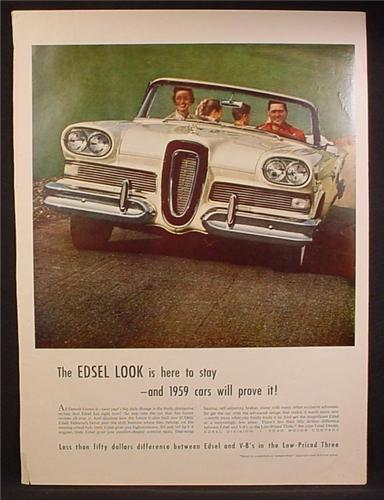 Magazine Ad For 1959 Ford Edsel Convertible Car, Front View, 1958