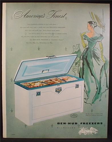 Magazine Ad For Ben-Hur Freezers, America's Finest, Ben Hur Chest Freezer, 1954
