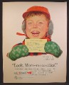 Magazine Ad For Crest Tooth Paste, Bobby With Card From Dentist, No Cavities Norman Rockwell