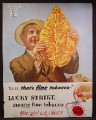 Magazine Ad For Lucky Strike Cigarettes, Man Holding Leaf, That's Fine Tobacco, 1944
