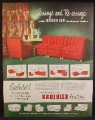 Magazine Ad For Kroehler Furniture, Sectional Sofa, Red Couch, 1948