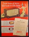Magazine Ad For Zenith Radio, Pacemaker Model, Tournament, Zephyr, 1948