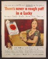 Magazine Ad For Lucky Strike Cigarettes, Never A Rough Puff, Hedy Lamarr, Celebrity, 1950