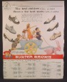 Magazine Ad For Buster Brown Children's Shoes, Kids in Cart Pulled By Pink Rabbit, 1960