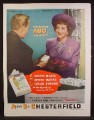 Magazine Ad For Chesterfield Cigarettes, You Know Your ABC, Claudette Colbert, Celebrity, 1946