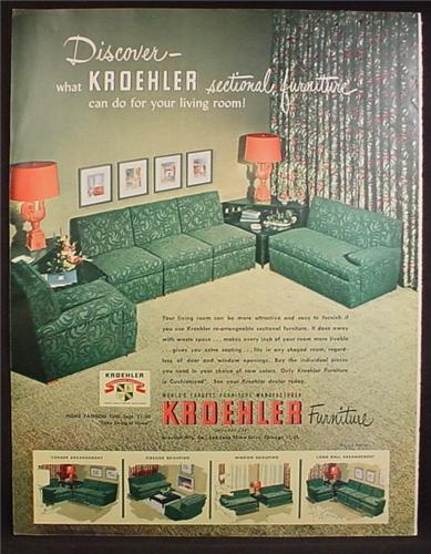 Magazine Ad For Kroehler Sectional Furniture Green Living Room 1950
