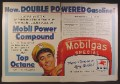 Magazine Ad For Mobilgas, Gas Station Attendant & Gas Pump, 1954, Double Page Ad