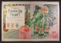 Magazine Ad For 7Up, Seven Up Float, 3 Flavors, Bottles, Caps, Opener, 1956, Double Page Ad
