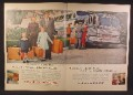 Magazine Ad For Greyhound Bus Lines & Samsonite Luggage, Nice View of a Bus, 1956, Double Page Ad