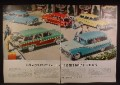 Magazine Ad For Ford & Mercury Station Wagon Cars, 5 Models Pictured, 1956, Double Page Ad
