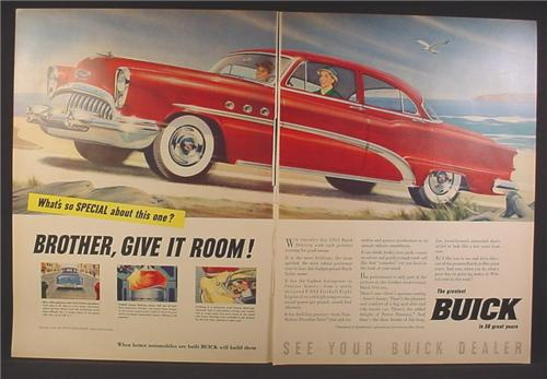 Magazine Ad For Buick Special Car, Red, Side & Front View, Brother Give It Room, 1953