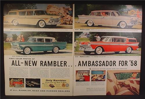 Magazine Ad For 1958 Nash Rambler Ambassador Cars, Station Wagon, Interior, 1957, Double Page Ad