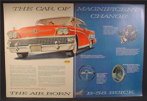 Magazine Ad For 1958 B-58 Buick Car B58, Engine, Steering Wheel, Front View, 1957, Double Page Ad