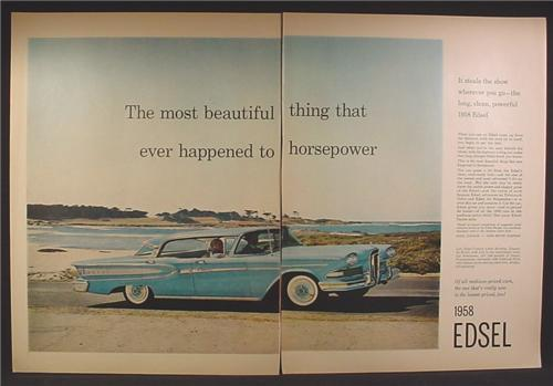 Magazine Ad For 1958 Edsel Car, Blue, Side & Front View, 1958, Double Page Ad