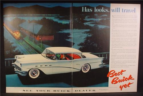 Magazine Ad For Buick Century Car, Train Passing a Station, Side View, 1956, Double Page Ad