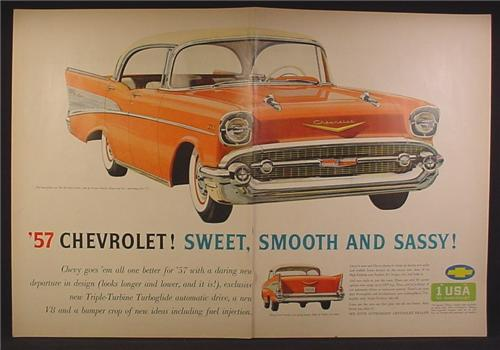 Magazine Ad 1957 Chevrolet Orange Bel Air Sport Sedan, Front & Side View, Smooth & Sassy, 1956