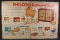 Magazine Ad For Philco Festival of Sound, Radios, Record Players, 13 Models Pictured, 1957
