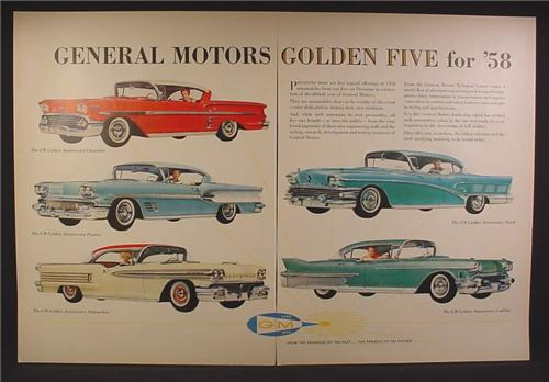 Magazine Ad For 1958 General Motors Golden Five Cars, 5 Models, 1957, Double Page Ad
