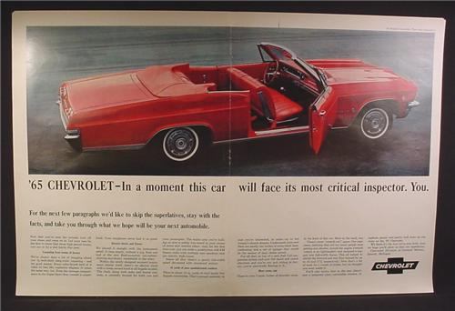 Magazine Ad For 1965 Chevrolet Impala Convertible Car, Looking Down, Door Open, Interior, 1964