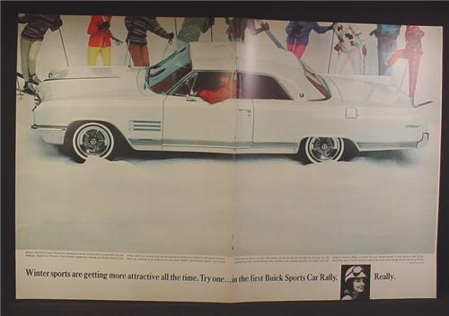Magazine Ad For Buick Wildcat Car, White, Side & Top View, Parked in The Snow, 1964