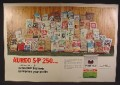 Magazine Ad For Cyanamid Pig Feed, 50 Different Bags of Hog Food, 1971, Double Page Ad