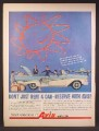 Magazine Ad For Avis Rent A Car, Blue & White Convertible, Rent It Here Leave It There, 1958