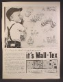 Magazine Ad For Wall-Tex Woven Wall Fabric, Wall Tex, Boy Putting Hand Marks On Wall, 1959